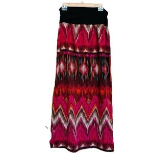 I. N. Studio Native American Print Knit Maxi Skirt